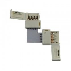 Conector sin cable 2 vias 90º RGB para tiras 5050