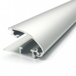 Perfil banner rail aluminio con fleje anod. Plata mate x barra de 6m